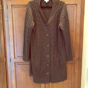 Forest green chunky knit sweater tunic length